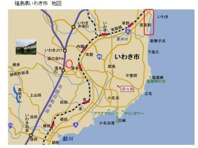 地図の赤い枠の中の周辺(新舞子浜周辺)で植林と管理を行っています(資料提供:NPO法人いわきの森に親しむ会)